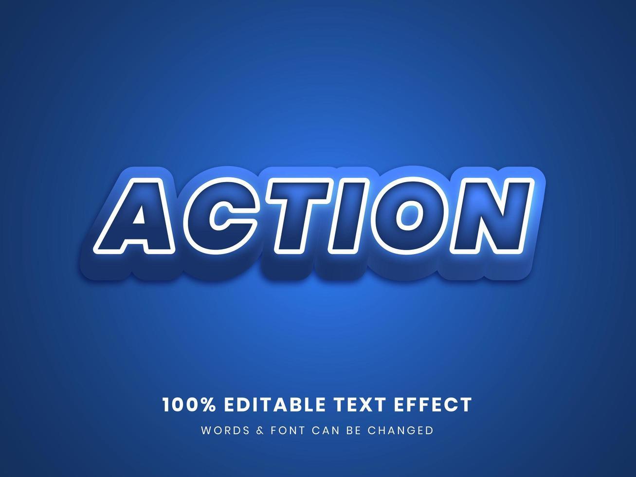 action bleue effet de texte modifiable 3d vecteur