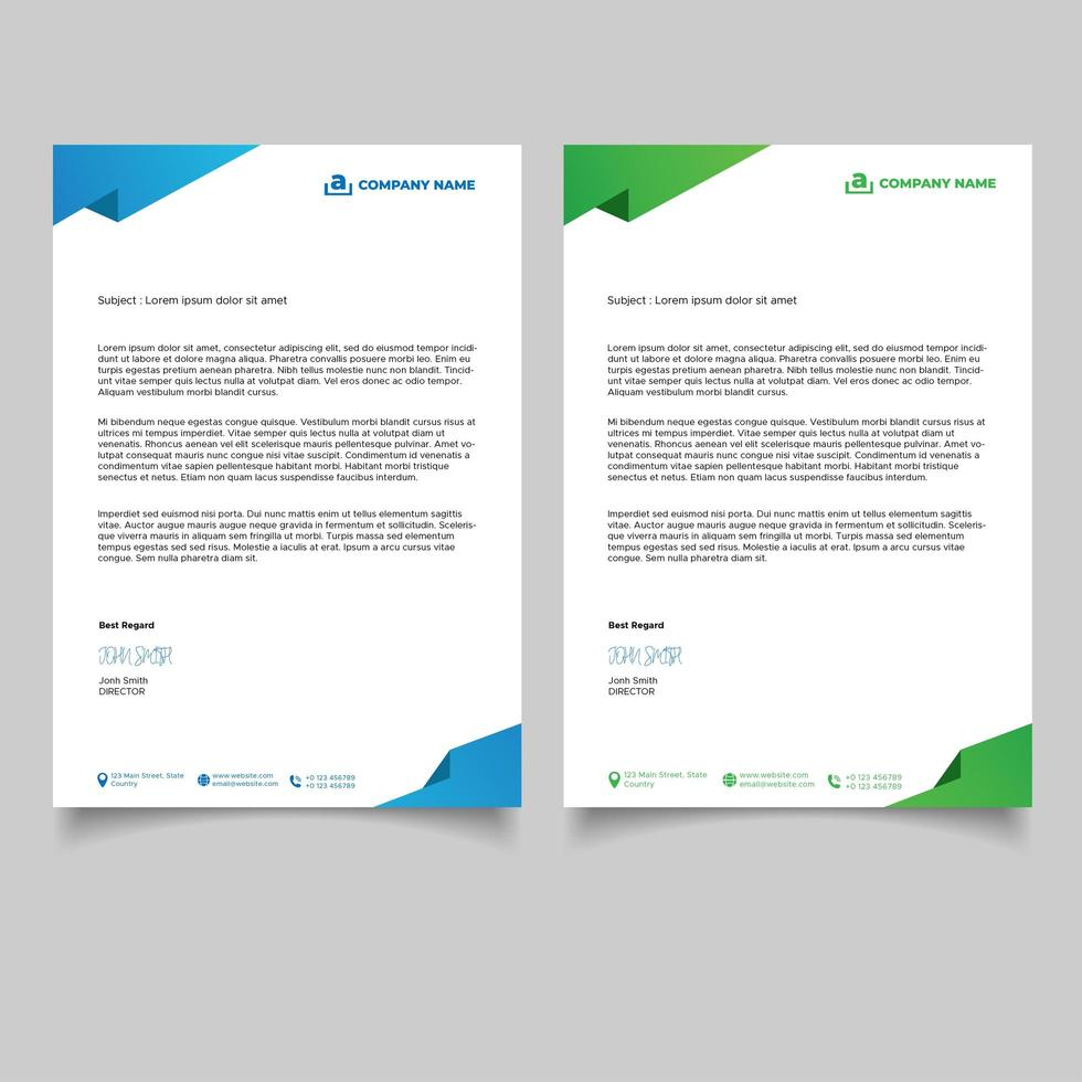 modèle de papier à en-tête d'entreprise design vert et bleu minimal vecteur