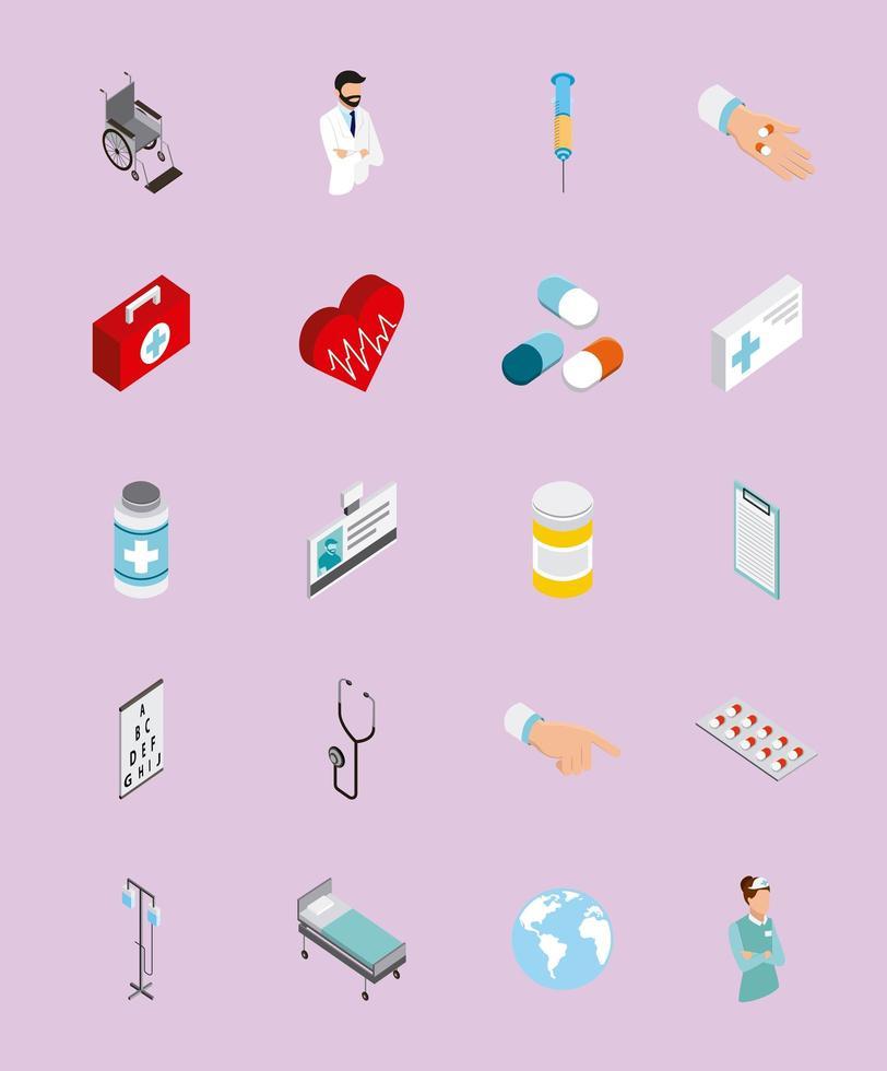 jeu d'icônes isométrique médical vecteur