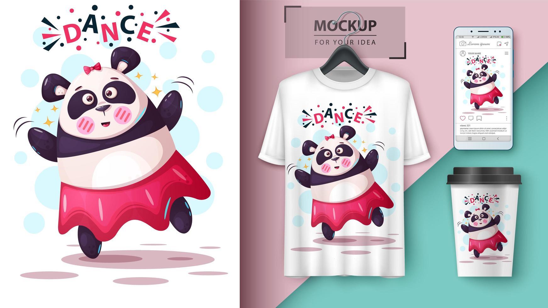 maquettes de panda dansant vecteur