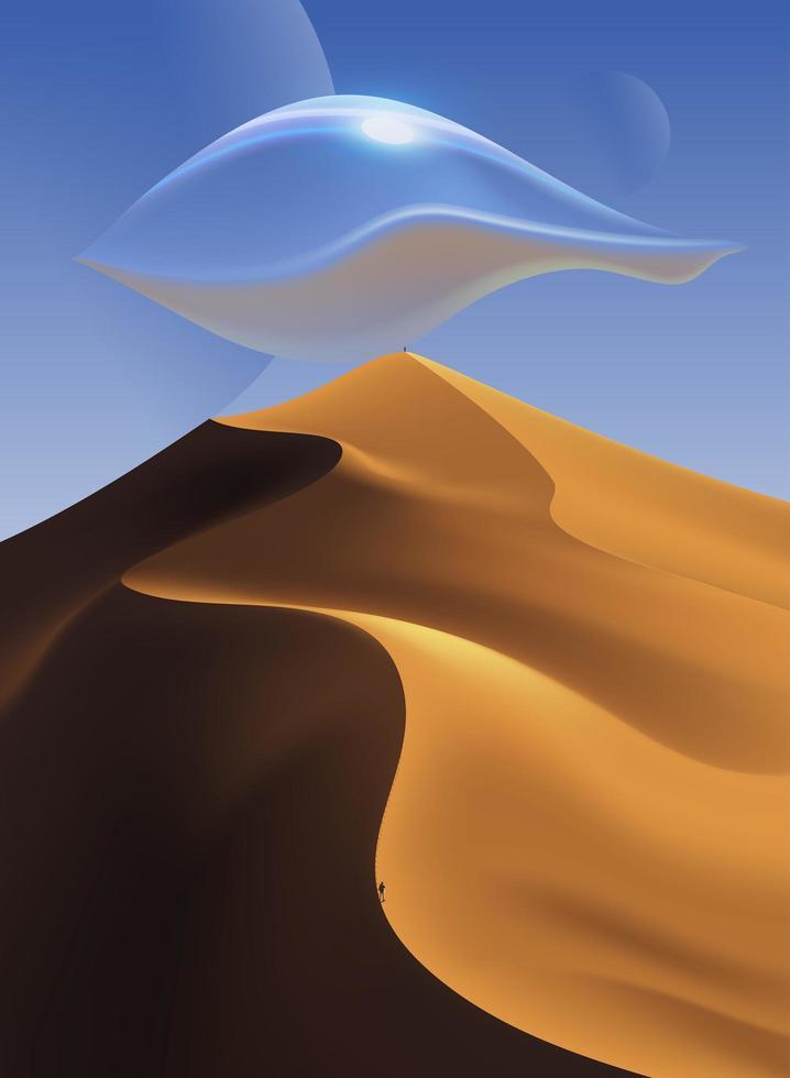 scène du désert avec ufo vecteur