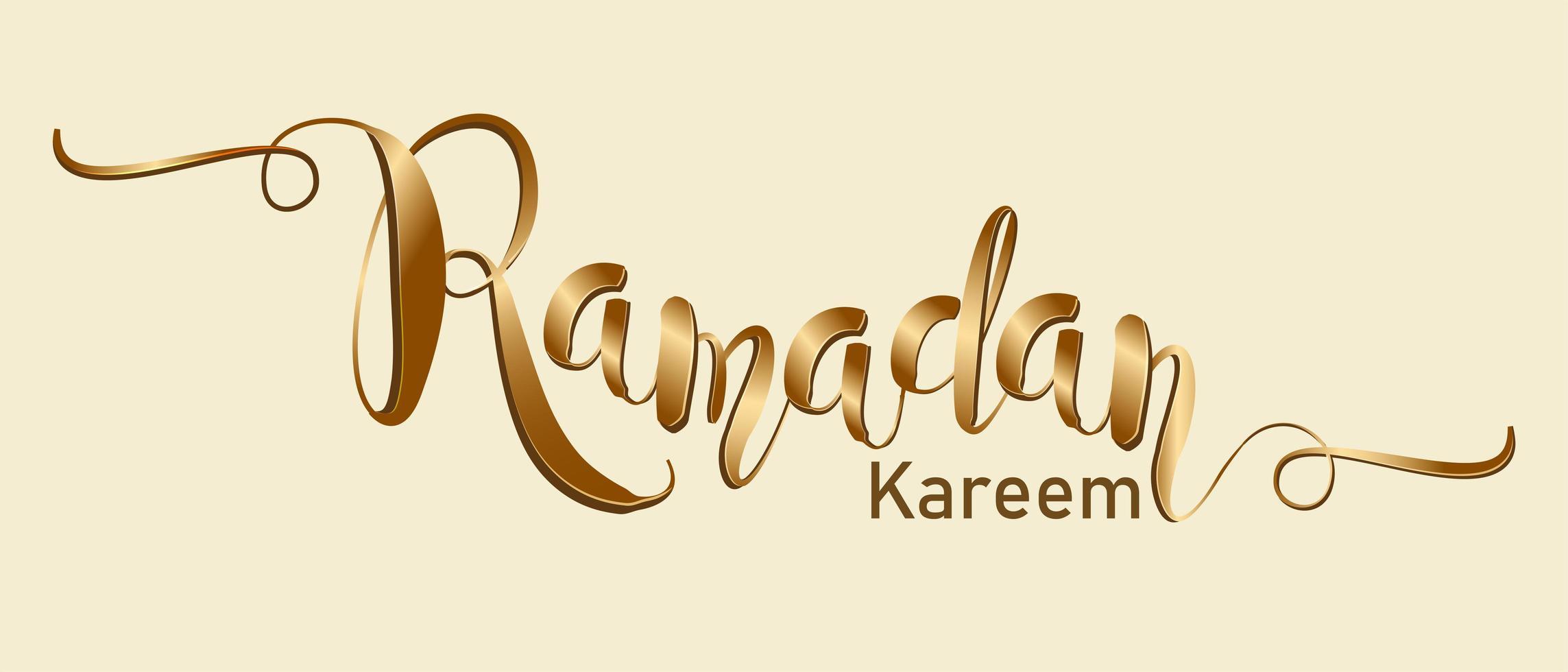 typographie de ramadan kareem or vecteur