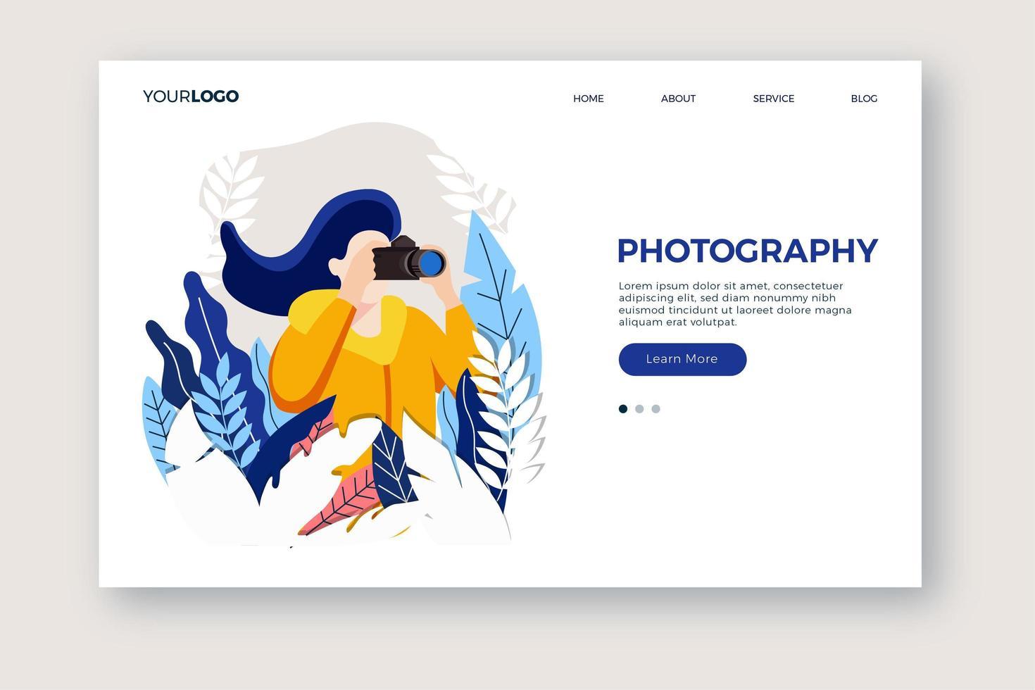 page de destination de photographie vecteur