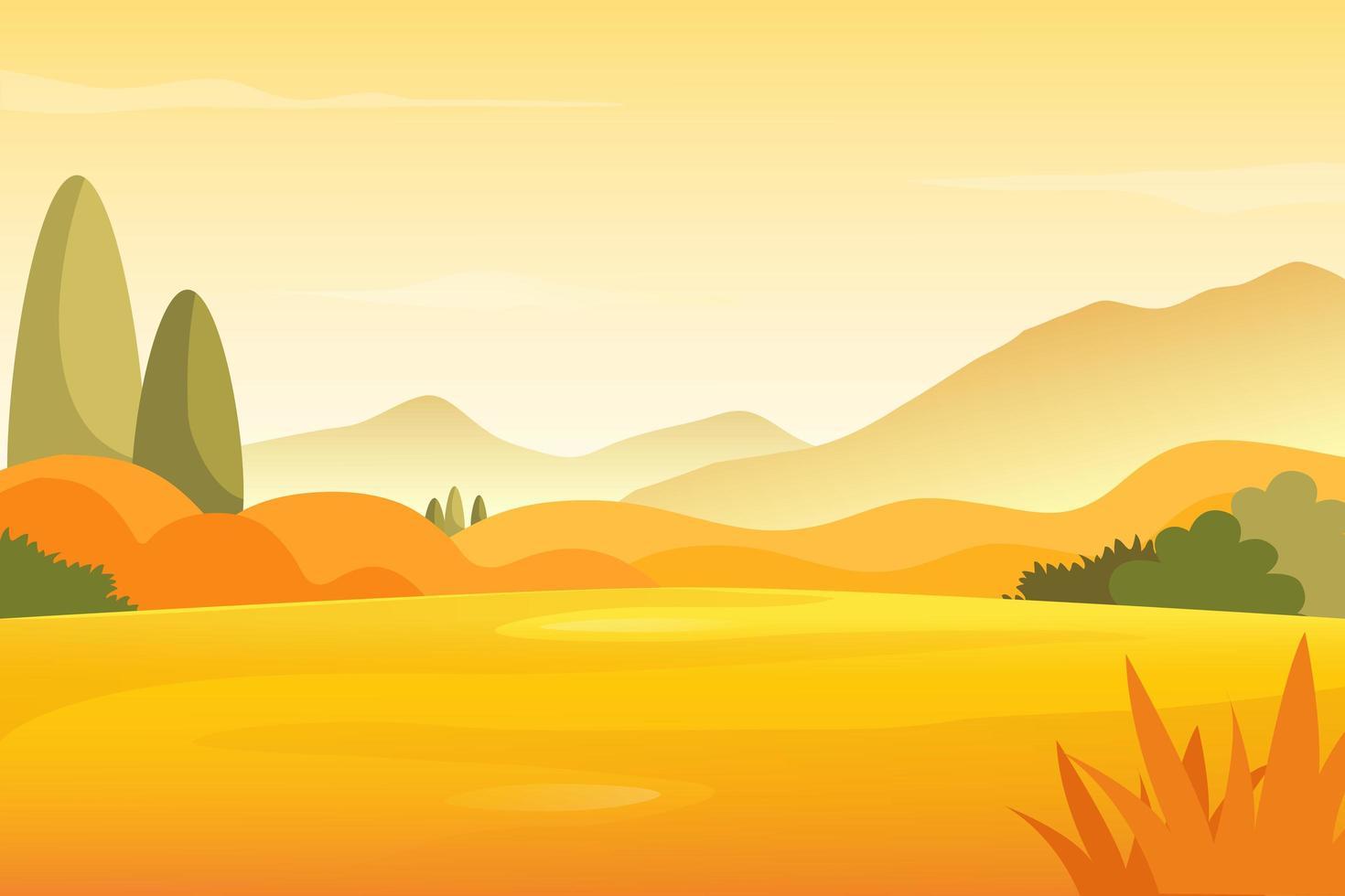 paysage de prairie d'automne avec fond de montagnes vecteur