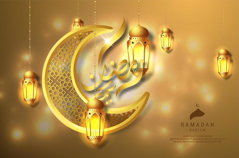 ramadan kareem design avec lanternes suspendues dorées vecteur