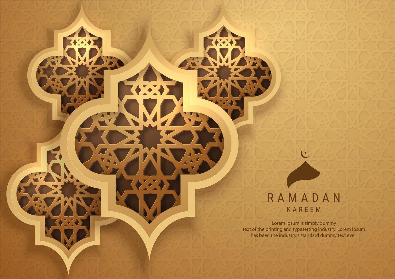 carte de ramadan kareem avec des formes ornementales vecteur