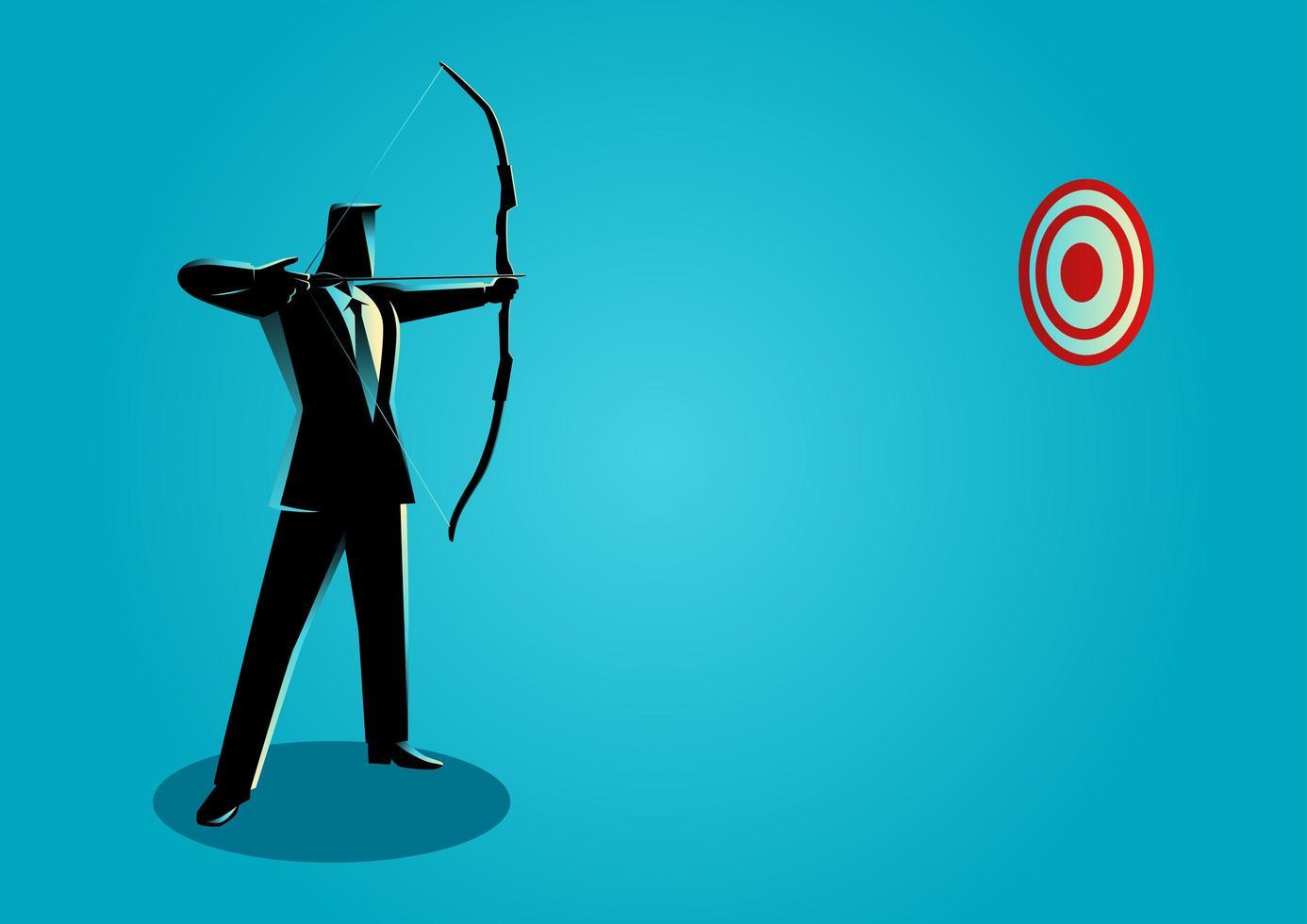 homme affaires, archer, silhouette vecteur