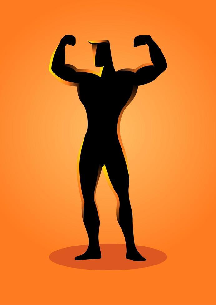 bodybuilder silhouette sport flexion vecteur