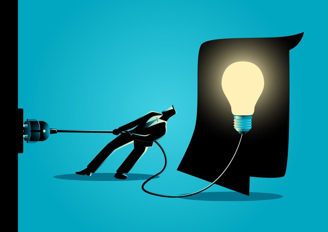 homme affaires, silhouette, débrancher, ampoule vecteur