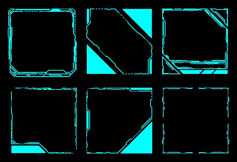 cadre carré ensemble d'éléments hud vecteur