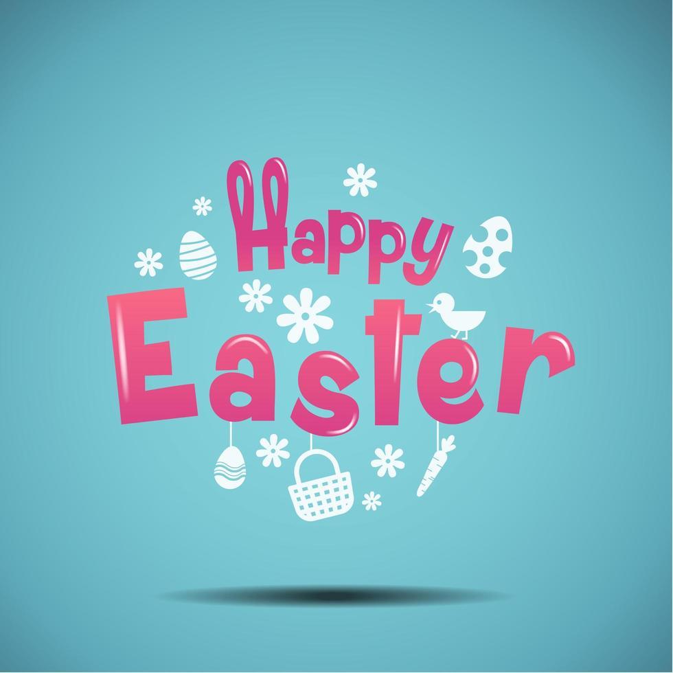 typographie de Pâques Joyeux avec des icônes vecteur