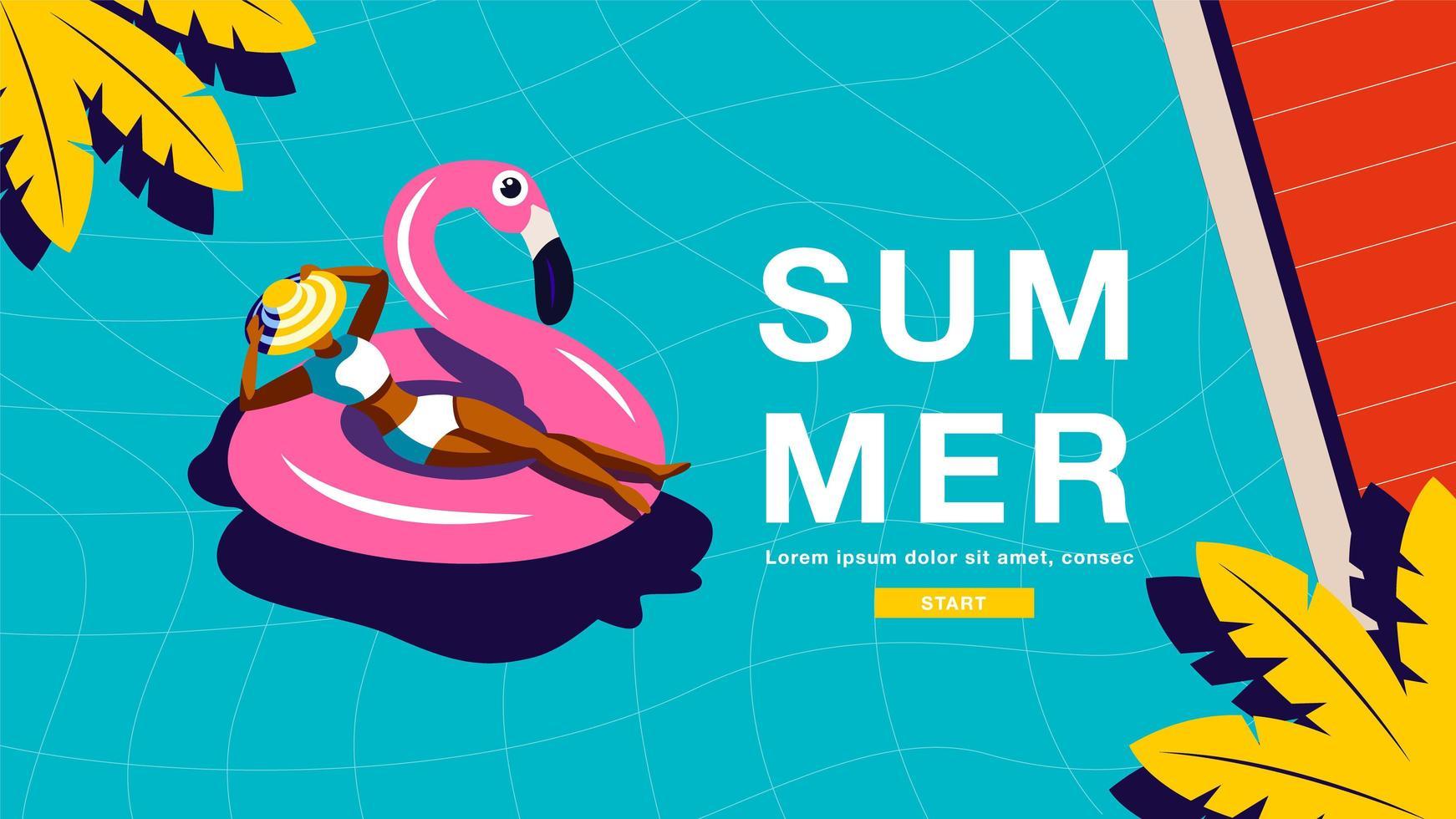 affiche de vacances d'été avec une femme dans un tube de flamant rose vecteur
