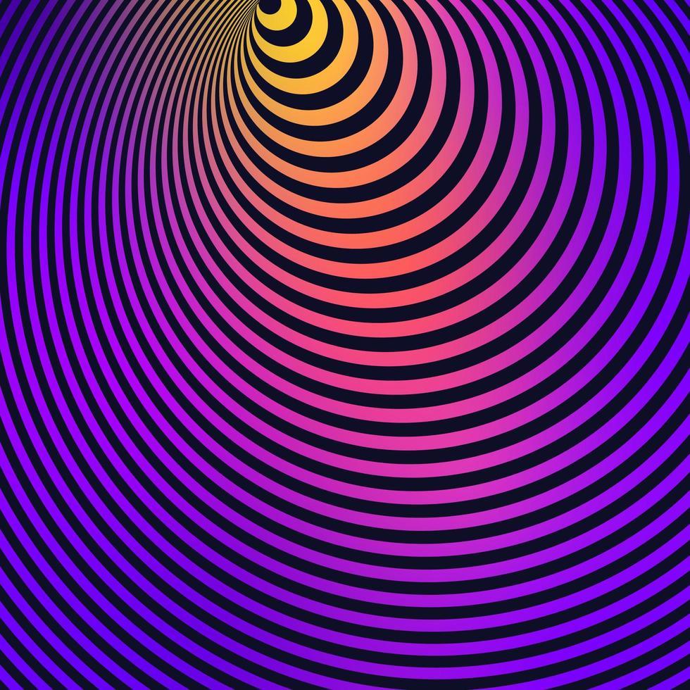fond rayé d'illusion d'optique coloré vecteur