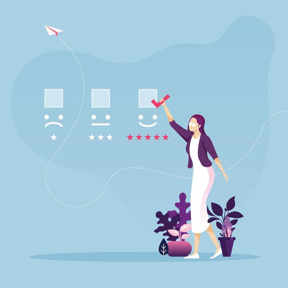 expérience client et concept de revue en ligne vecteur