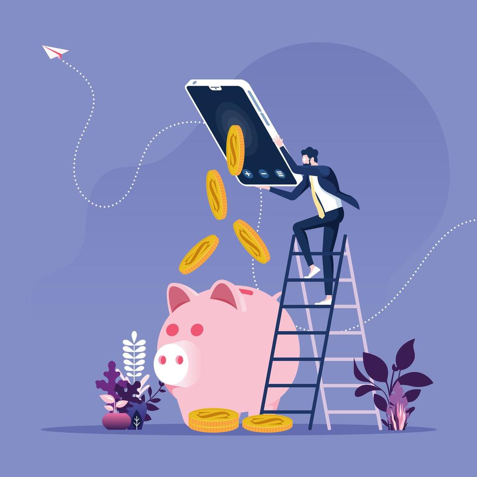 homme d'affaires, gagner de l'argent en ligne vecteur
