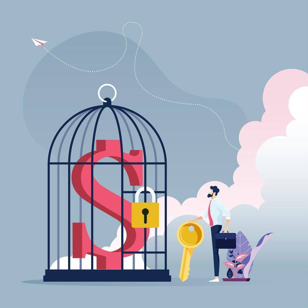 homme d'affaires avec la clé pour déverrouiller le signe dollar dans une cage à oiseaux vecteur