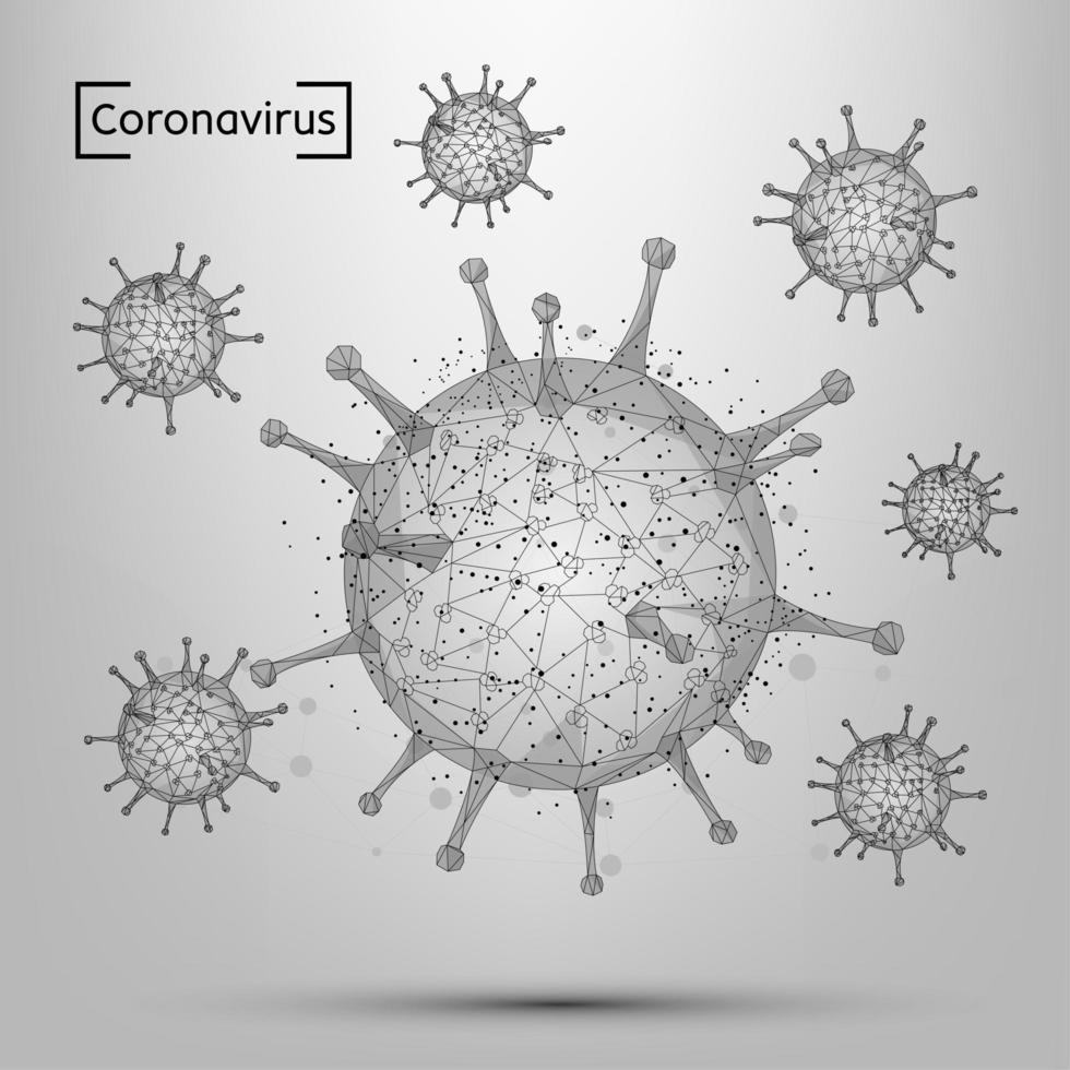 cellule de virus corona ligne et point abstrait. vecteur