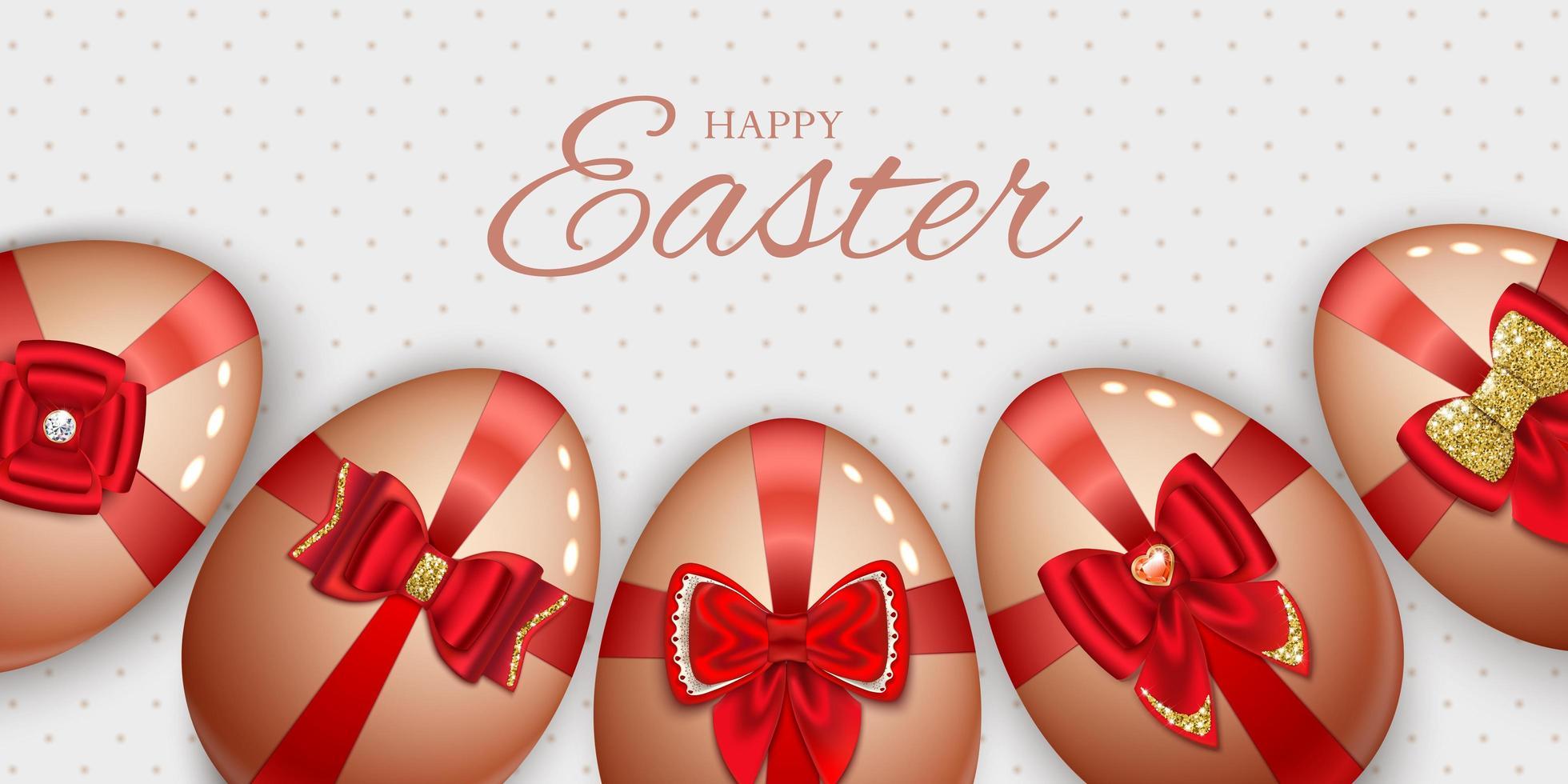 bannière de Pâques Joyeux avec des oeufs avec des arcs vecteur