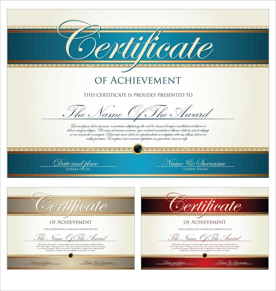 ensemble de certificats ou diplômes vecteur
