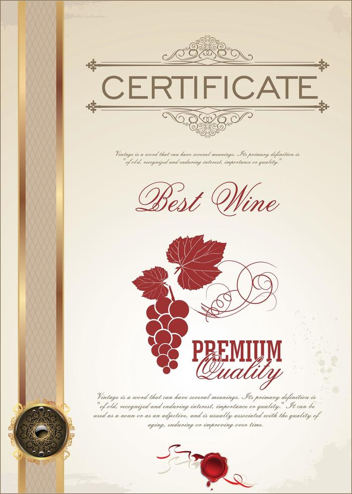 modèle de certificat de vin avec décalcomanie dorée vecteur
