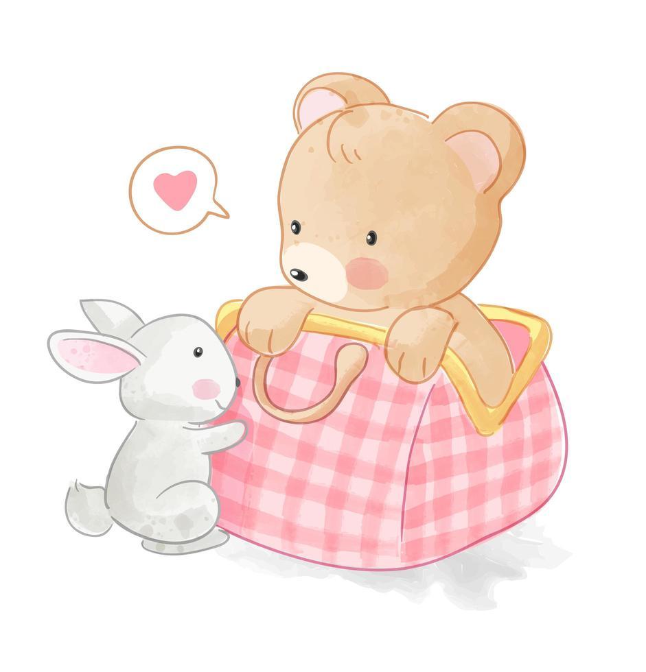 mignon ours dans un sac avec lapin vecteur