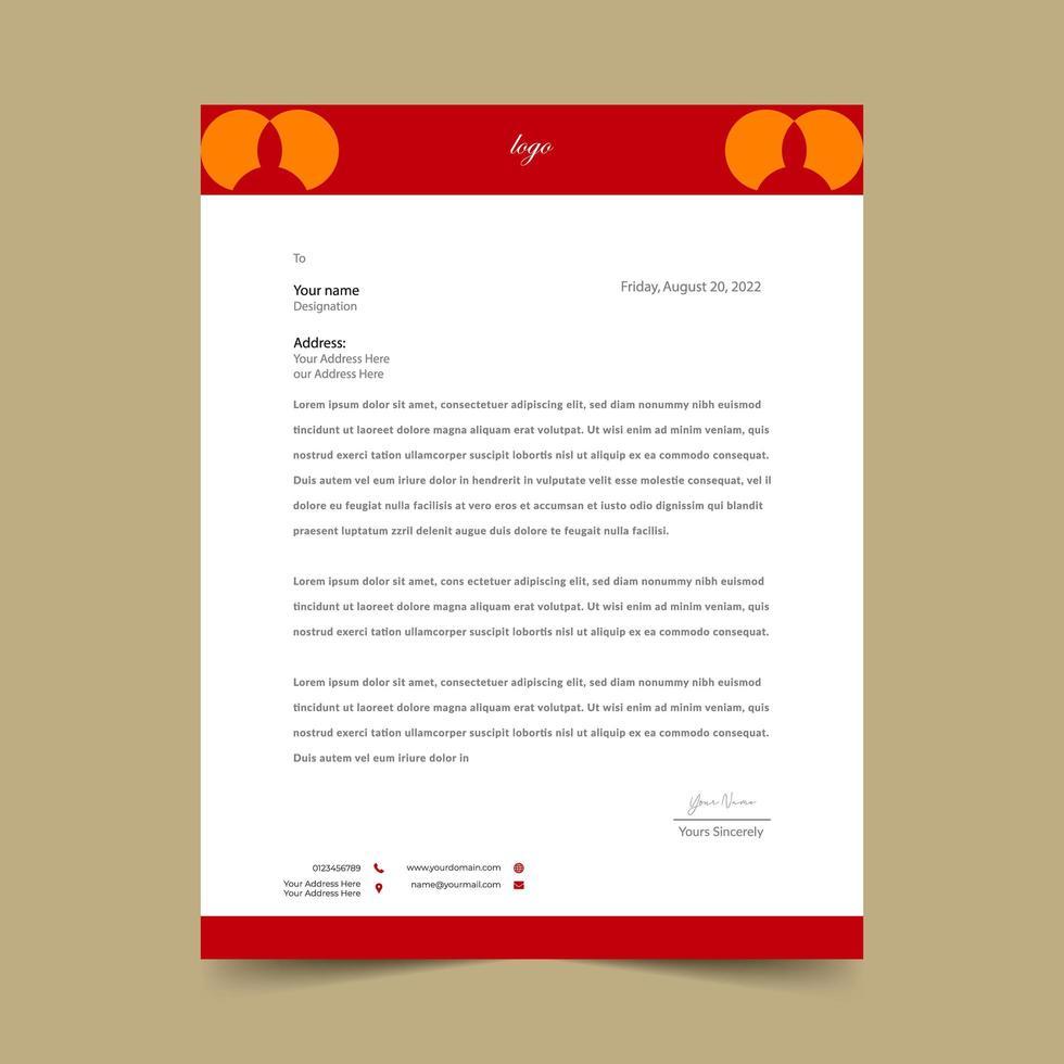 modèle de papier à en-tête géométrique rouge et orange vecteur