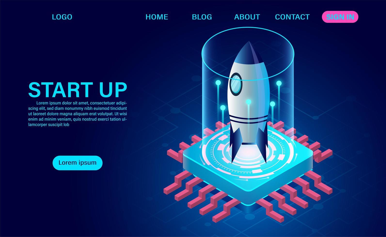Page de destination du concept de démarrage d'entreprise vecteur