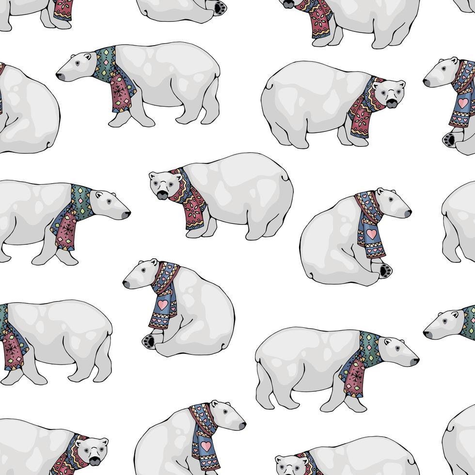 modèle sans couture d'ours polaires vecteur