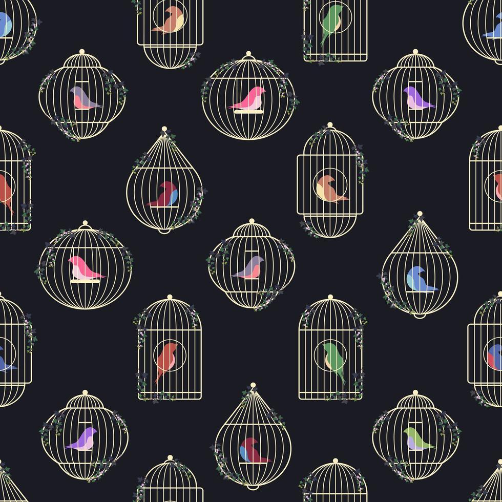 oiseaux en modèle sans couture de cages vecteur
