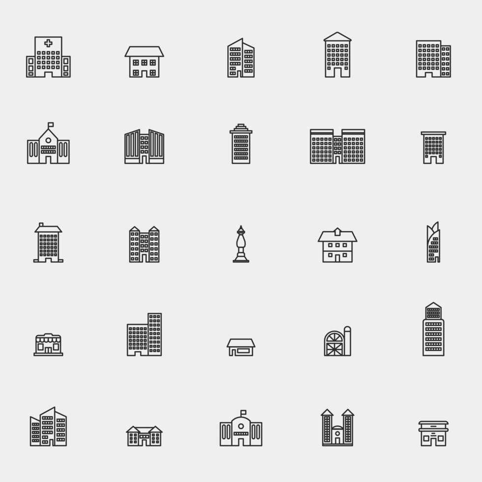 jeu d'icônes de ligne bâtiment entreprise vecteur