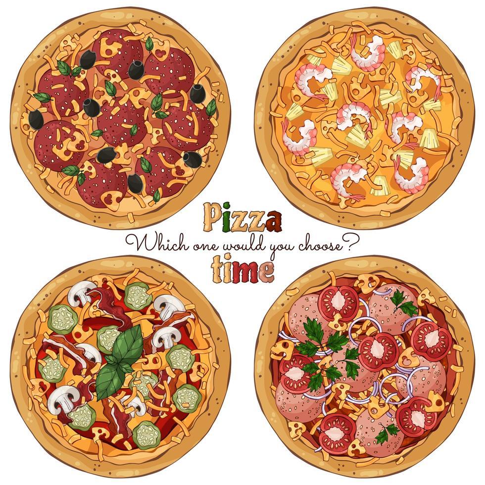 groupe de pizzas différentes vecteur