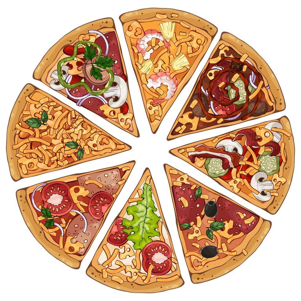 ensemble de tranches de pizza vecteur