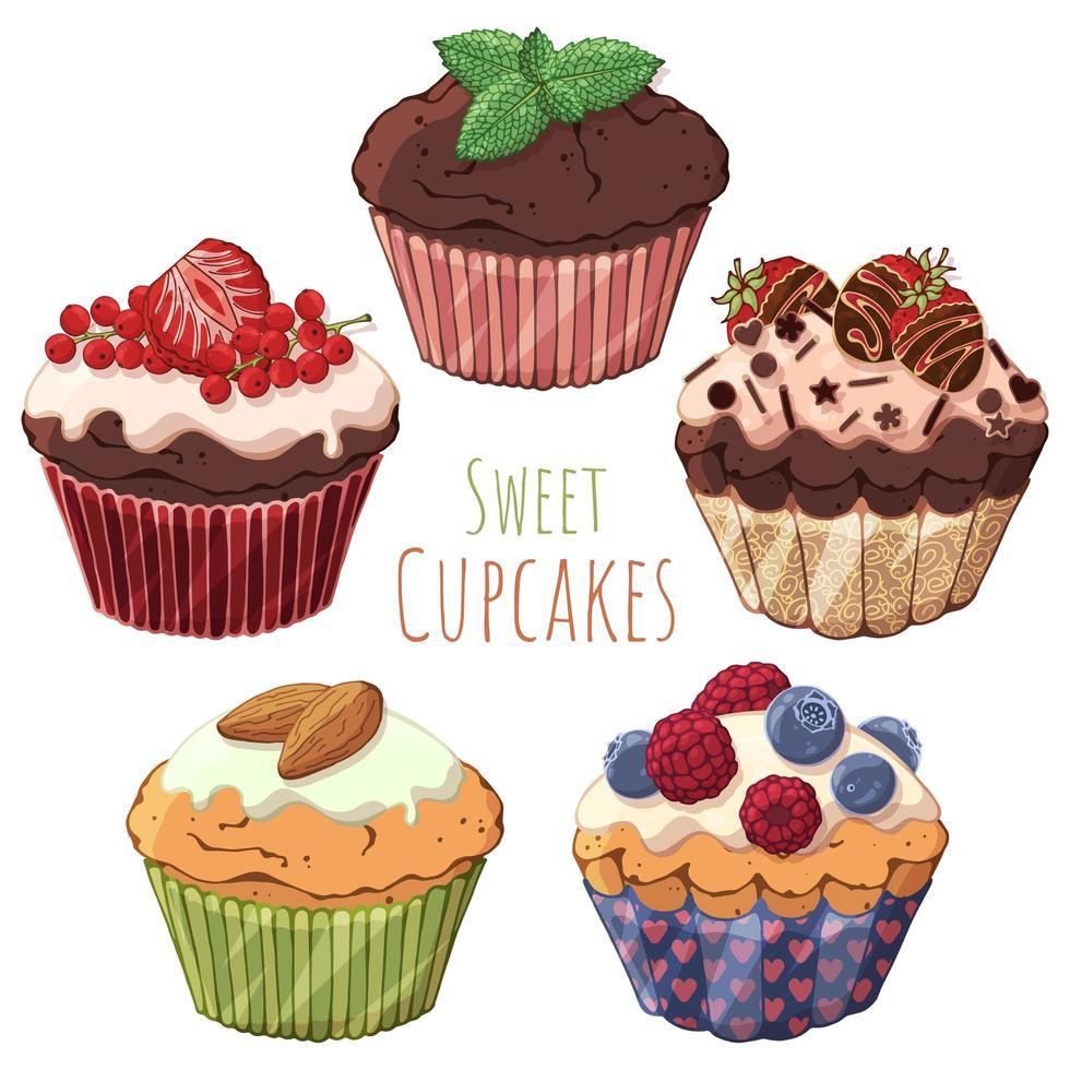 groupe de petits gâteaux vecteur