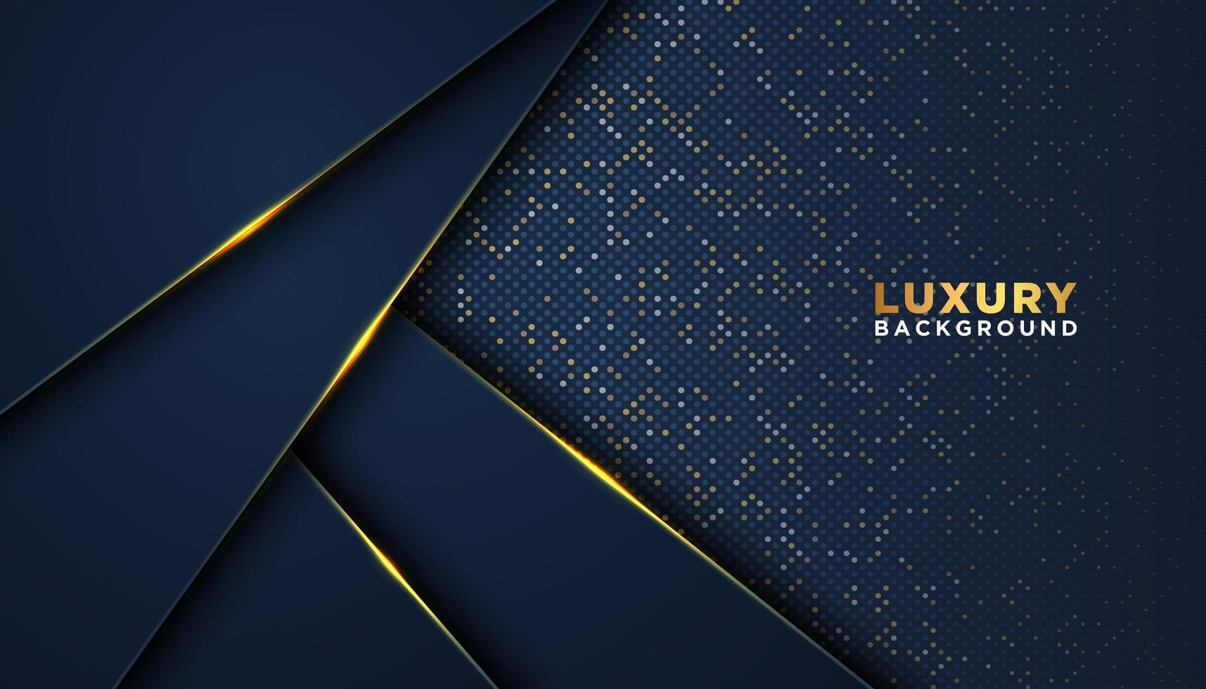 bleu foncé avec des accents d'or luxe fond 3d vecteur