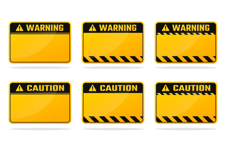 ensemble de panneaux d'avertissement jaune noir vecteur