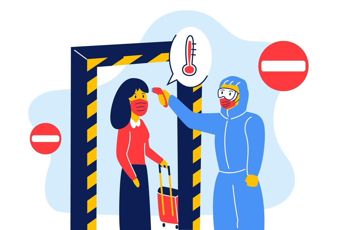 balayage thermique pour coronavirus ou covid-19 au checkpoint gate vecteur