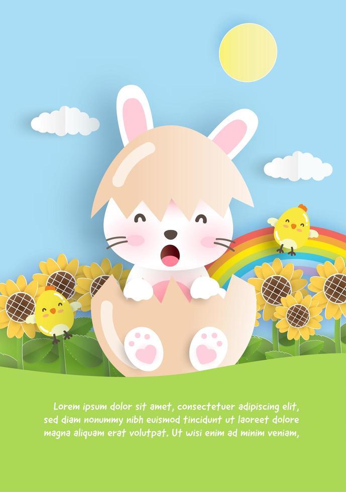 carte de Pâques avec le lapin à l'oeuf dans un style papier découpé vecteur