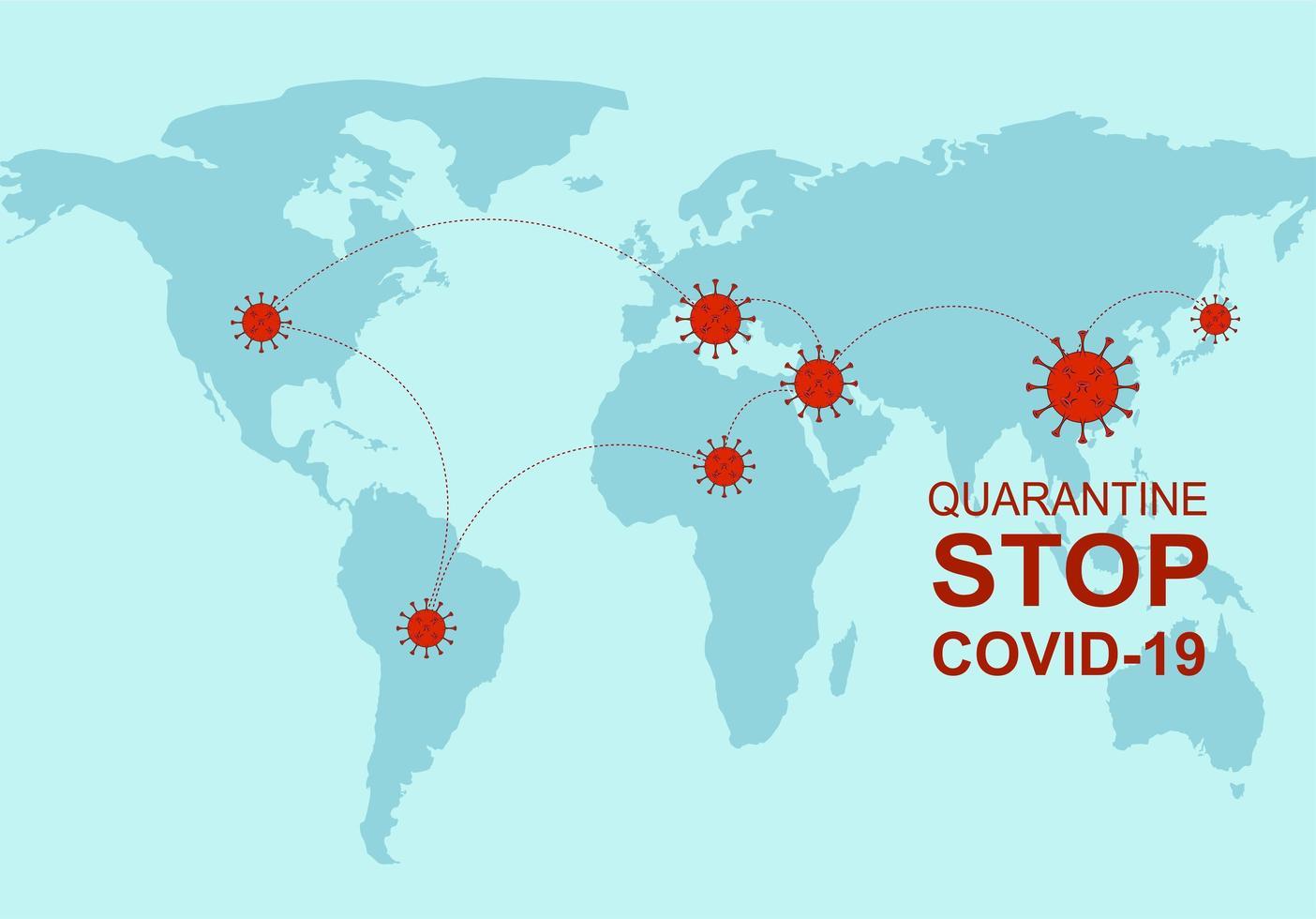 infographie avec le virus covid-19 sur la carte du monde vecteur