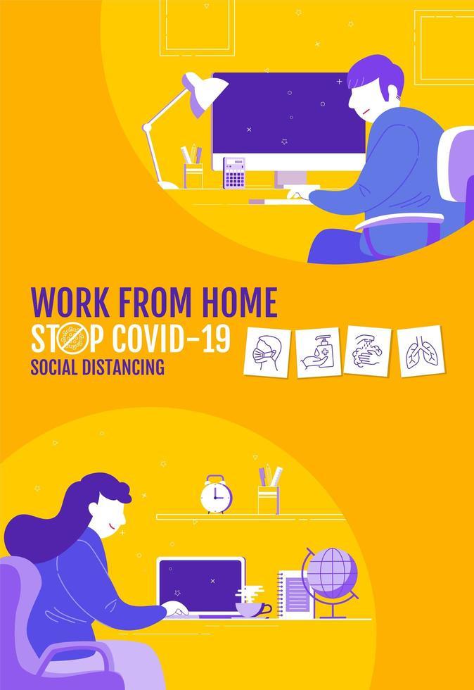 affiche de distanciation sociale avec des personnages travaillant à la maison vecteur