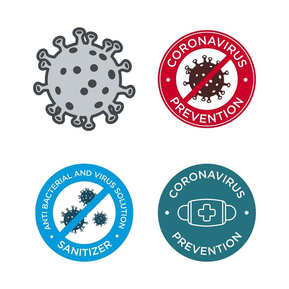 jeu d'icônes de prévention des coronavirus vecteur