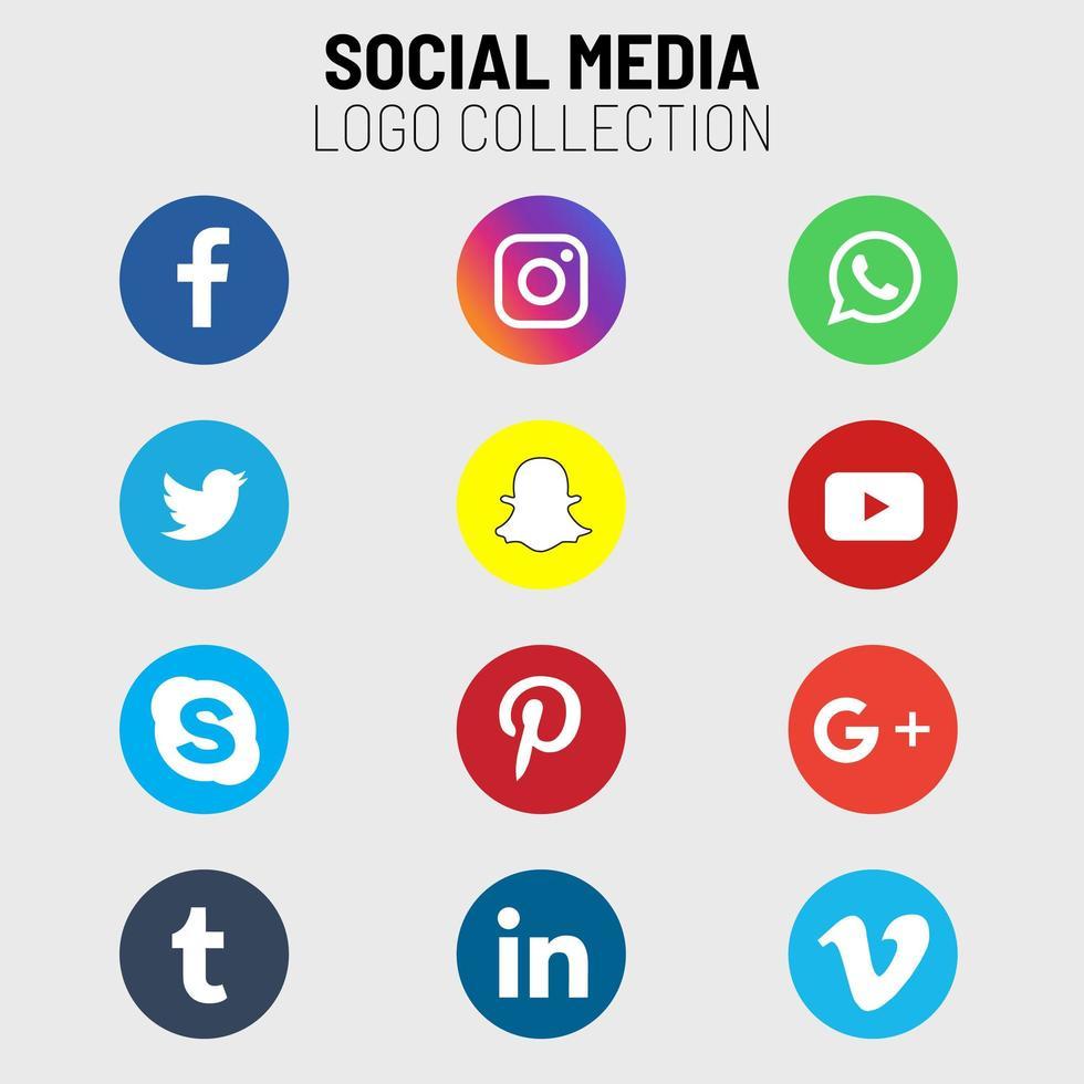 collection d'icônes de médias sociaux vecteur