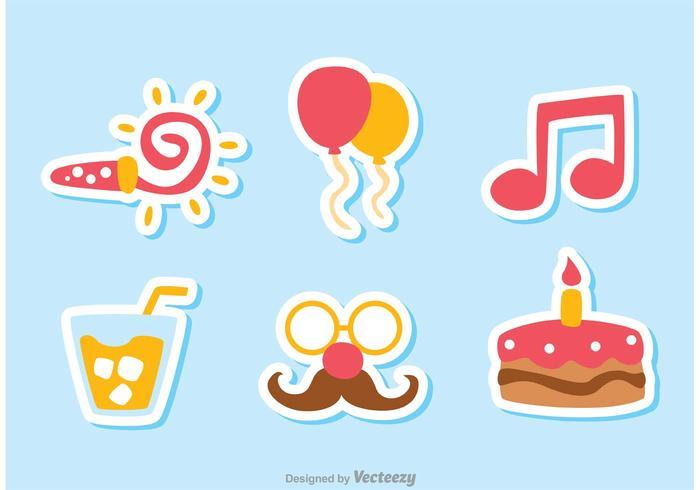 Vecteurs d'icônes d'anniversaire couleur Pack 2 vecteur