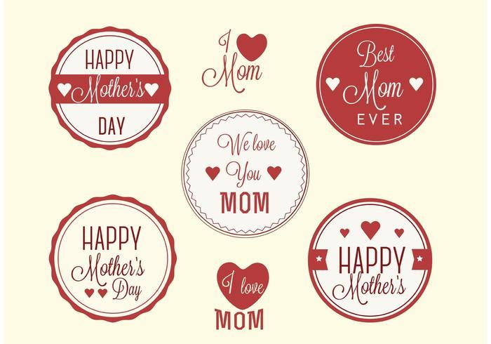 Vecteurs d'étiquettes gratuits pour la fête des mères vecteur