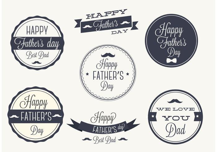 Ensemble d'étiquettes vectorielles gratuit pour les fêtes des pères vecteur
