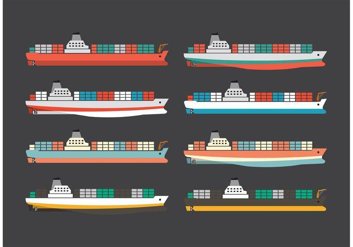Navires à conteneurs colorés vecteur