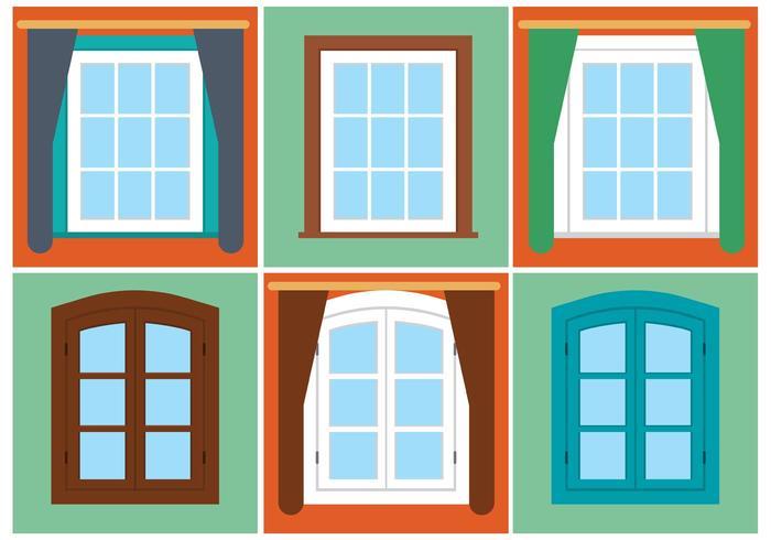 Ensemble de fenêtre Vintage Vector Free