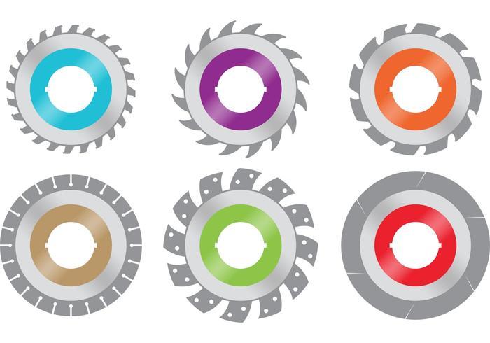 Lames de scie circulaires colorées vecteur