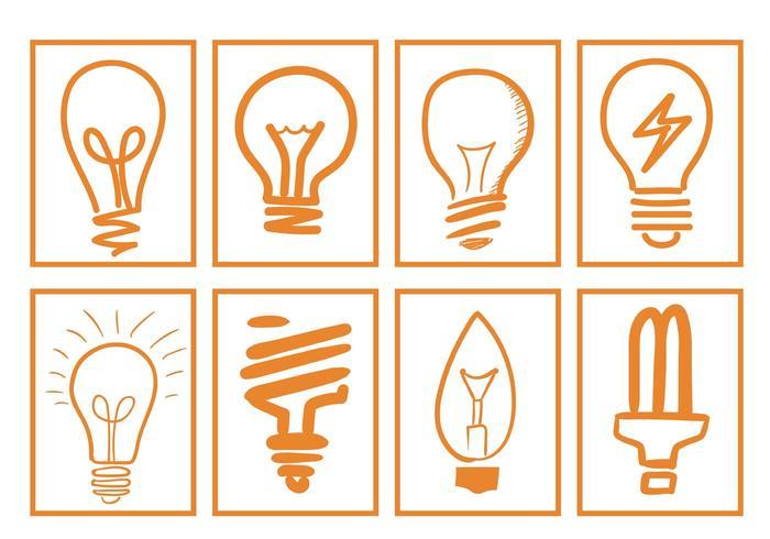 Vecteurs d'ampoules dessinées à la main vecteur