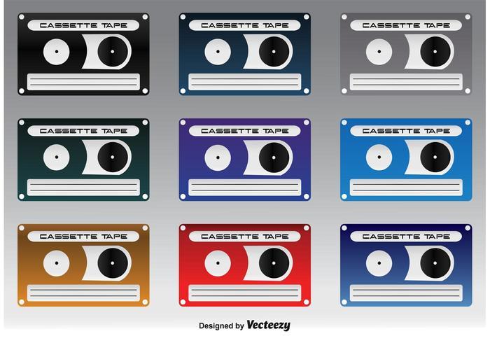 Cute icônes de cassette vecteur