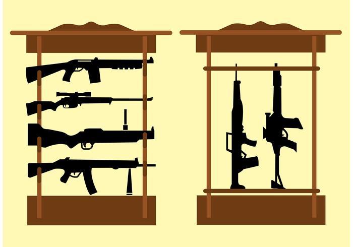Étagère avec tireurs automatiques et fusils vecteur